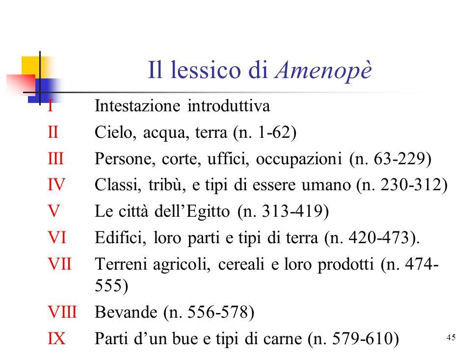 44 Il lessico di Amenopè rappresenta uno sviluppo fondamentale lista di oltre 600 voci (all'origine circa 2000) basata su precisi criteri sistematici