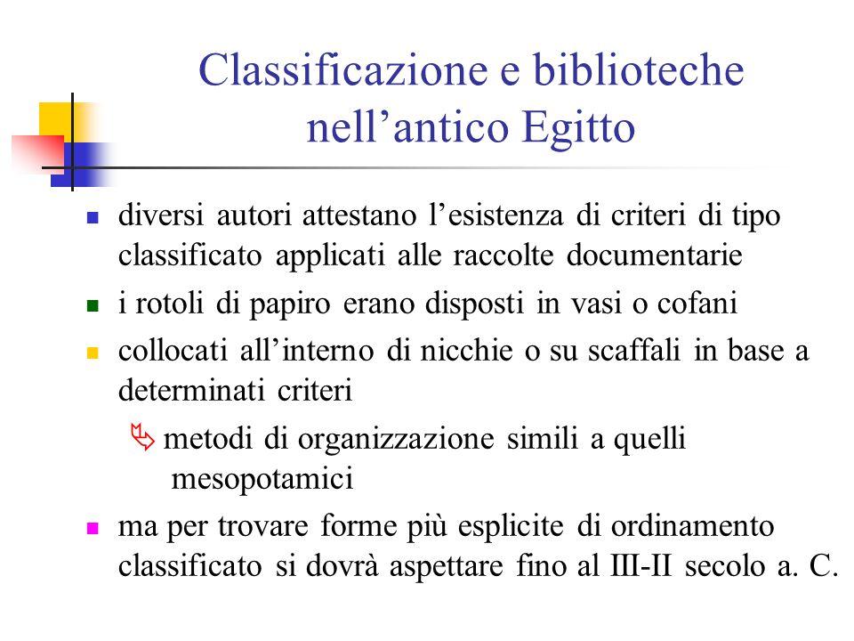 Classificazione e biblioteche nell'antico Egitto intorno al 1100 a. C., quindi, il pensiero classificatorio dell'antico Egitto acquisisce una maggiore
