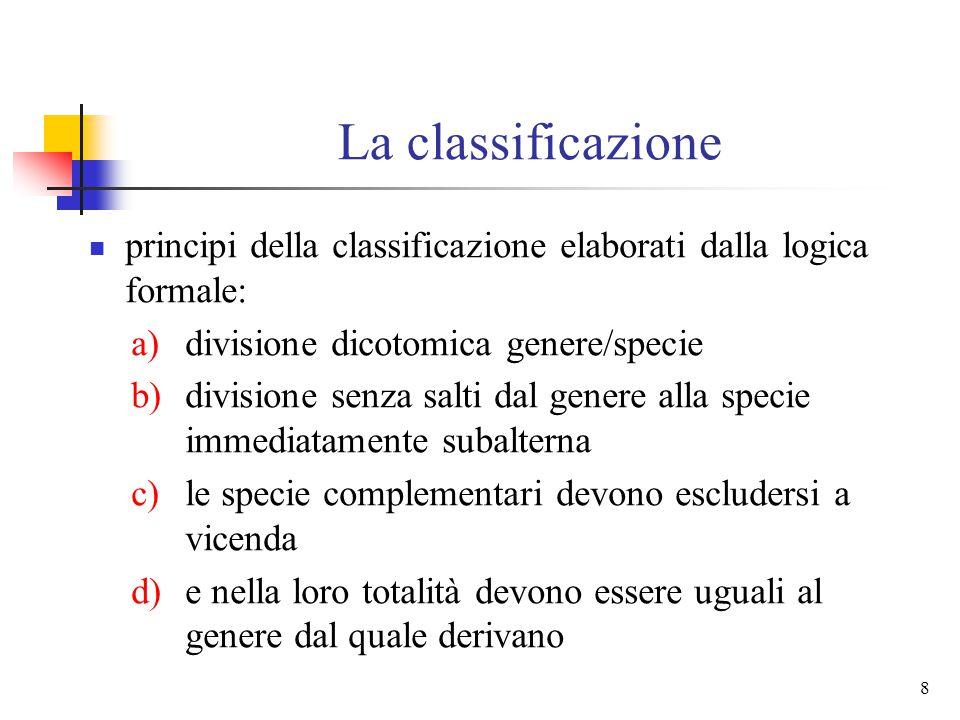 8 La classificazione principi della classificazione elaborati dalla logica formale: a)divisione dicotomica genere/specie b)divisione senza salti dal genere alla specie immediatamente subalterna c)le specie complementari devono escludersi a vicenda d)e nella loro totalità devono essere uguali al genere dal quale derivano