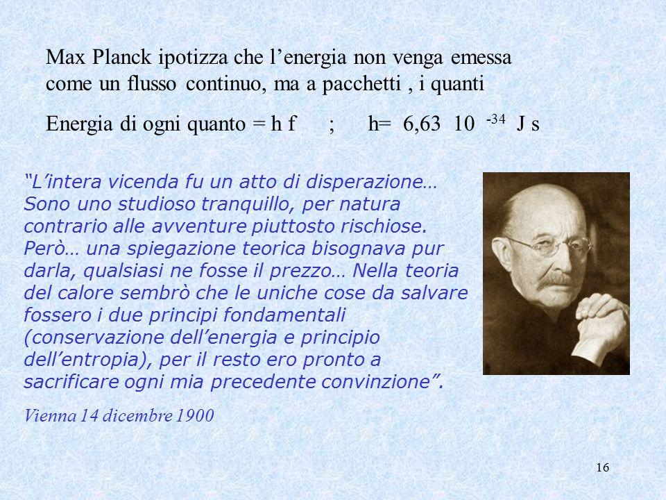 16 Max Planck ipotizza che l'energia non venga emessa come un flusso continuo, ma a pacchetti, i quanti Energia di ogni quanto = h f ; h= 6,63 10 -34 J s L'intera vicenda fu un atto di disperazione… Sono uno studioso tranquillo, per natura contrario alle avventure piuttosto rischiose.