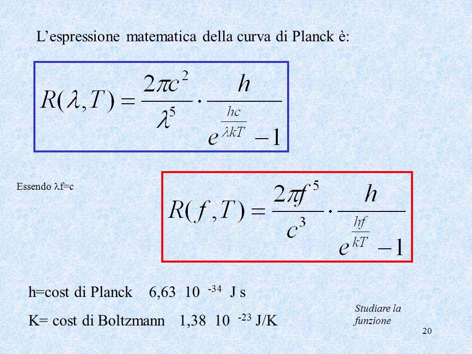 20 L'espressione matematica della curva di Planck è: Essendo f=c h=cost di Planck 6,63 10 -34 J s K= cost di Boltzmann 1,38 10 -23 J/K Studiare la funzione