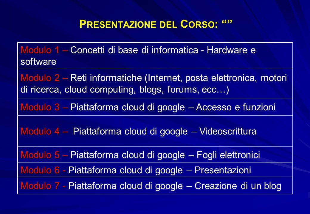 """P RESENTAZIONE DEL C ORSO : """""""" Modulo 1 – Modulo 1 – Concetti di base di informatica - Hardware e software Modulo 2 – Modulo 2 – Reti informatiche (In"""