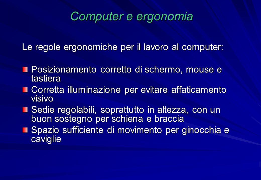 Computer e ergonomia Le regole ergonomiche per il lavoro al computer: Posizionamento corretto di schermo, mouse e tastiera Corretta illuminazione per