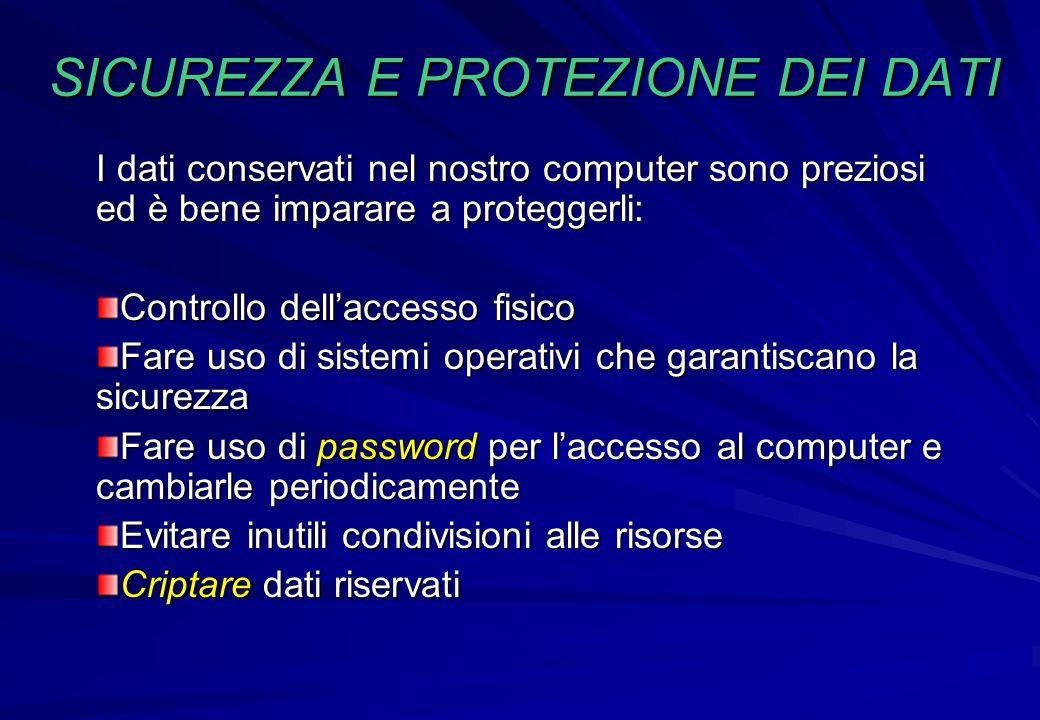 I dati conservati nel nostro computer sono preziosi ed è bene imparare a proteggerli: Controllo dell'accesso fisico Fare uso di sistemi operativi che