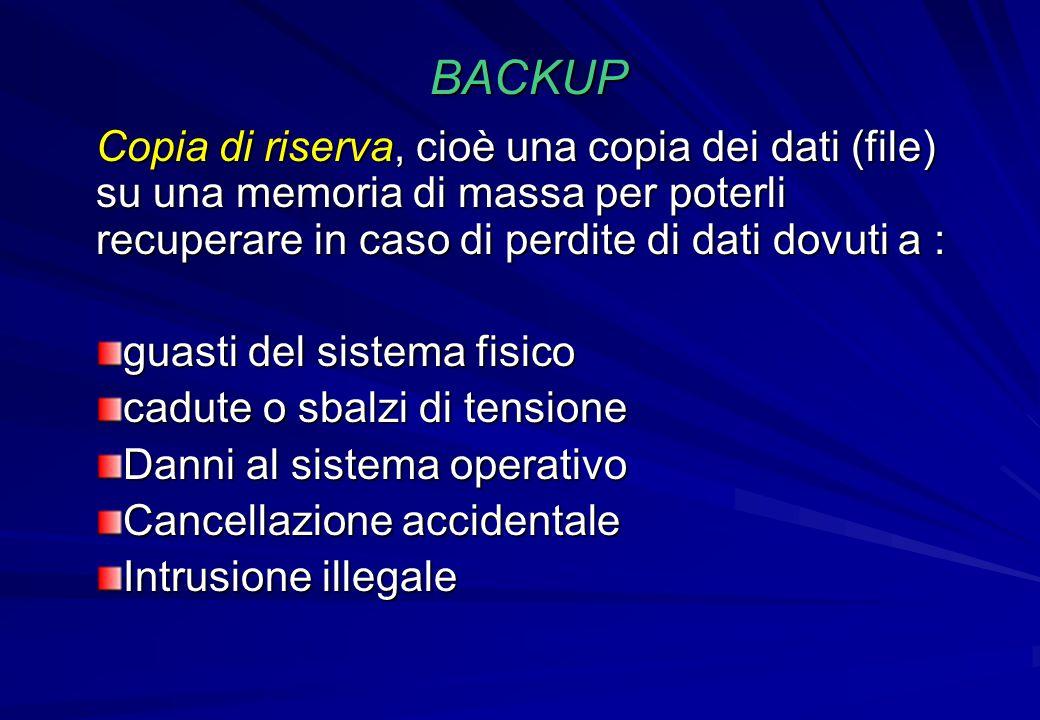 BACKUP Copia di riserva, cioè una copia dei dati (file) su una memoria di massa per poterli recuperare in caso di perdite di dati dovuti a : guasti de