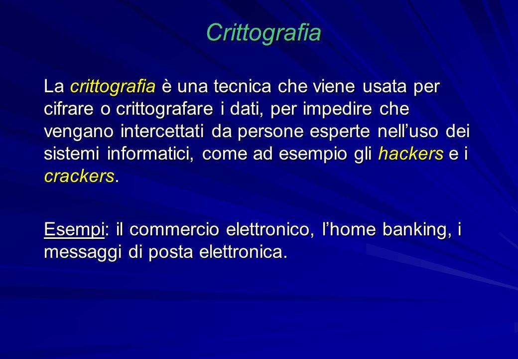 Crittografia La crittografia è una tecnica che viene usata per cifrare o crittografare i dati, per impedire che vengano intercettati da persone espert