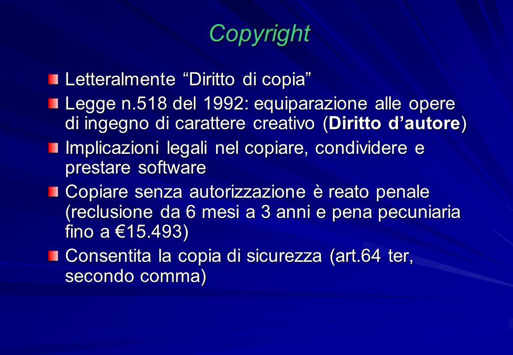 """Copyright Letteralmente """"Diritto di copia"""" Legge n.518 del 1992: equiparazione alle opere di ingegno di carattere creativo (Diritto d'autore) Implicaz"""