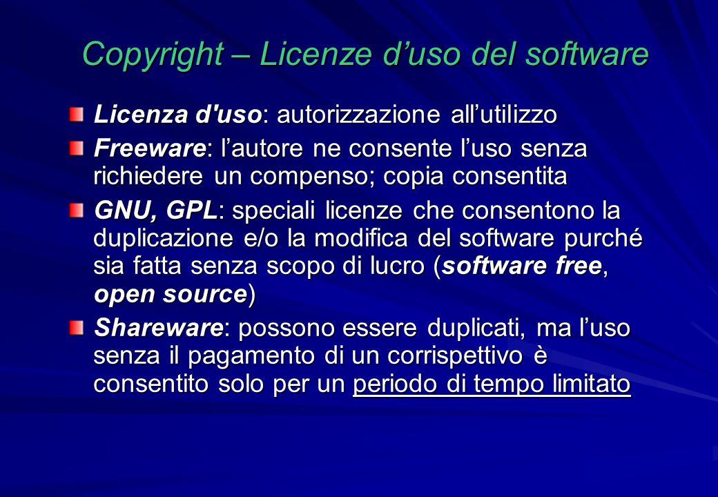 Copyright – Licenze d'uso del software Licenza d'uso: autorizzazione all'utilizzo Freeware: l'autore ne consente l'uso senza richiedere un compenso; c
