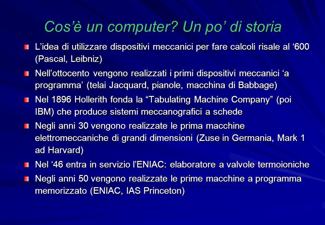 Cos'è un computer? Un po' di storia L'idea di utilizzare dispositivi meccanici per fare calcoli risale al '600 (Pascal, Leibniz) Nell'ottocento vengon