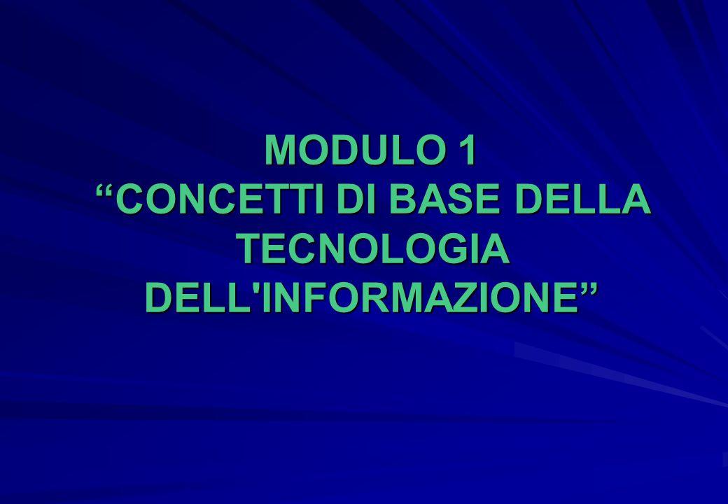 """MODULO 1 """"CONCETTI DI BASE DELLA TECNOLOGIA DELL'INFORMAZIONE"""""""