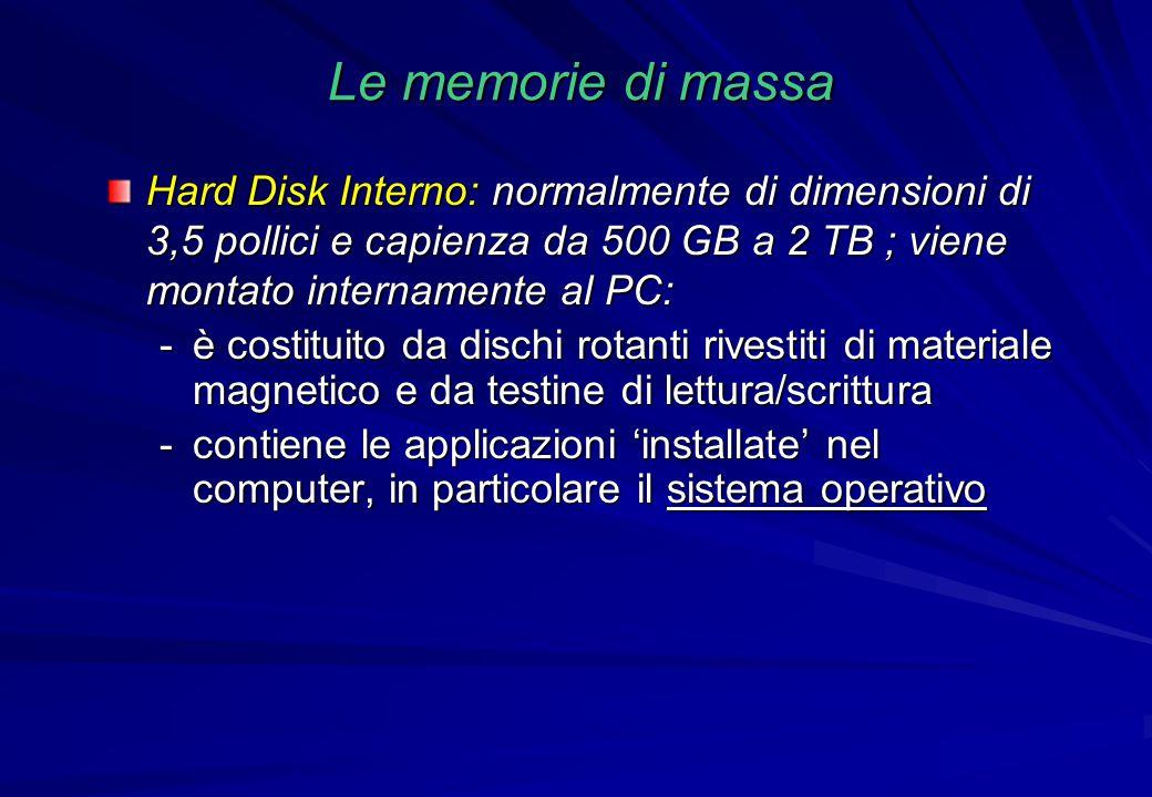 Le memorie di massa Hard Disk Interno: normalmente di dimensioni di 3,5 pollici e capienza da 500 GB a 2 TB ; viene montato internamente al PC: -è cos