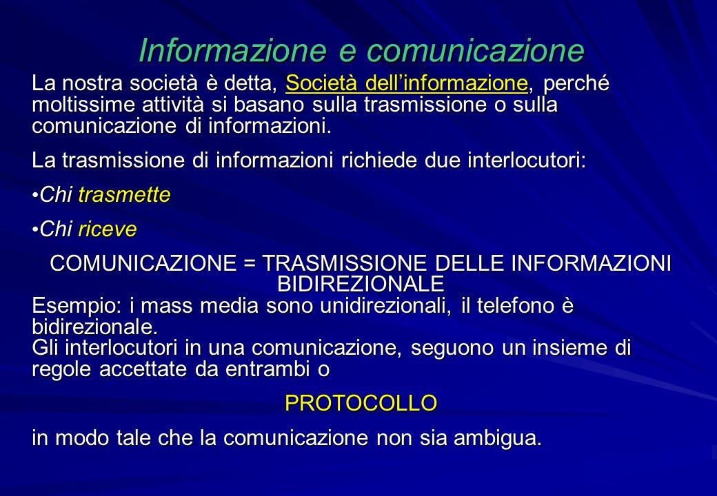 La nostra società è detta, Società dell'informazione, perché moltissime attività si basano sulla trasmissione o sulla comunicazione di informazioni. L