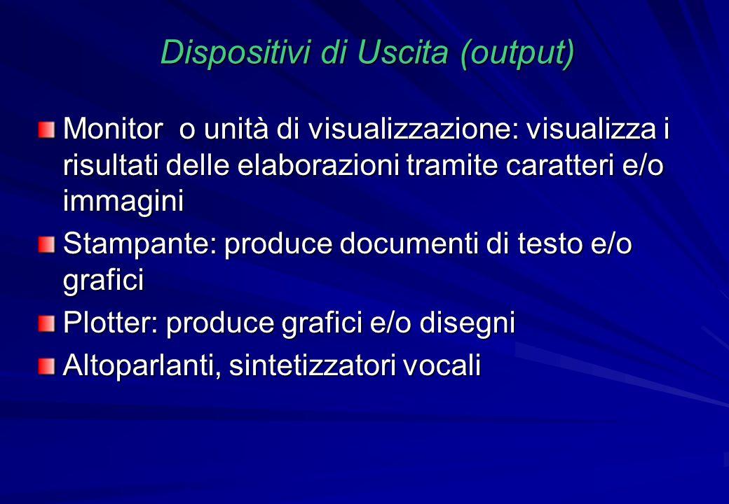Dispositivi di Uscita (output) Monitor o unità di visualizzazione: visualizza i risultati delle elaborazioni tramite caratteri e/o immagini Stampante: