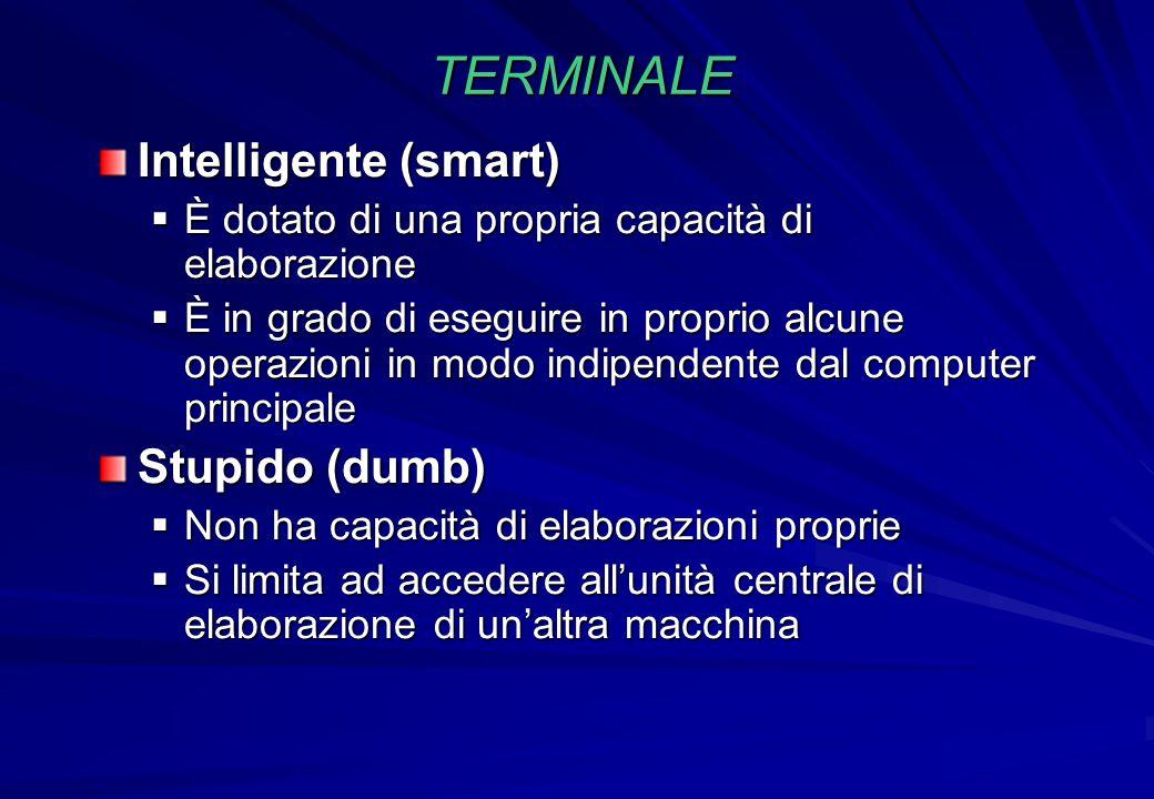 TERMINALE Intelligente (smart)  È dotato di una propria capacità di elaborazione  È in grado di eseguire in proprio alcune operazioni in modo indipe