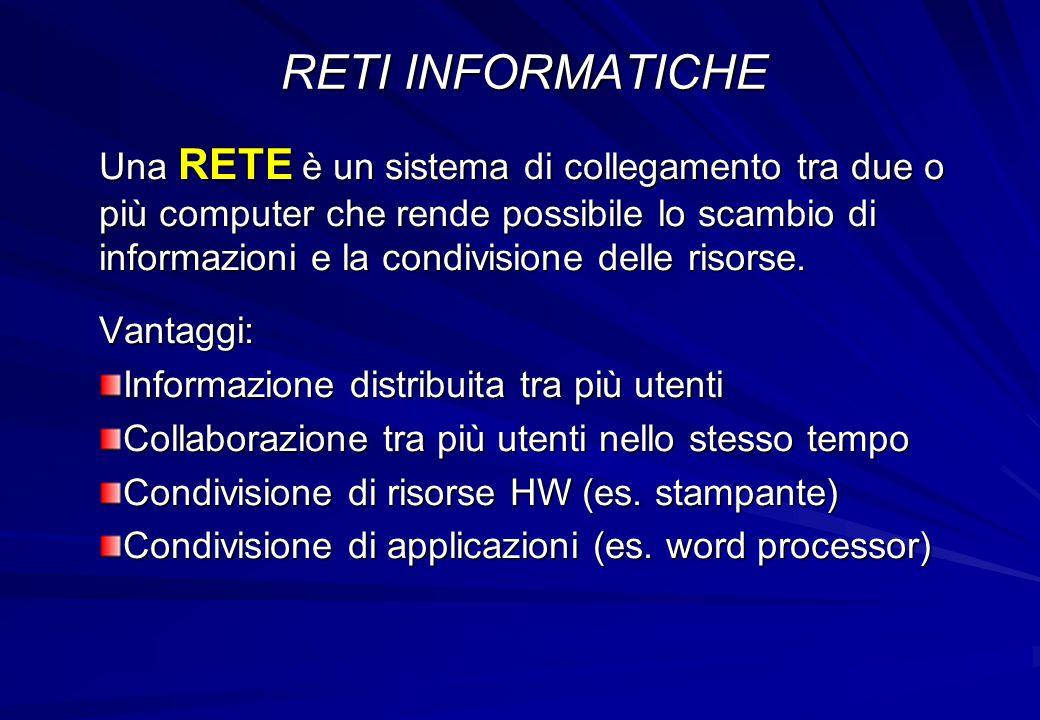 Una RETE è un sistema di collegamento tra due o più computer che rende possibile lo scambio di informazioni e la condivisione delle risorse. Vantaggi: