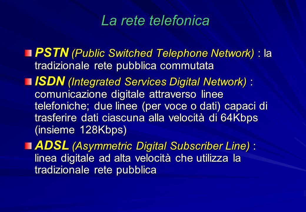 La rete telefonica PSTN (Public Switched Telephone Network) : la tradizionale rete pubblica commutata ISDN (Integrated Services Digital Network) : com