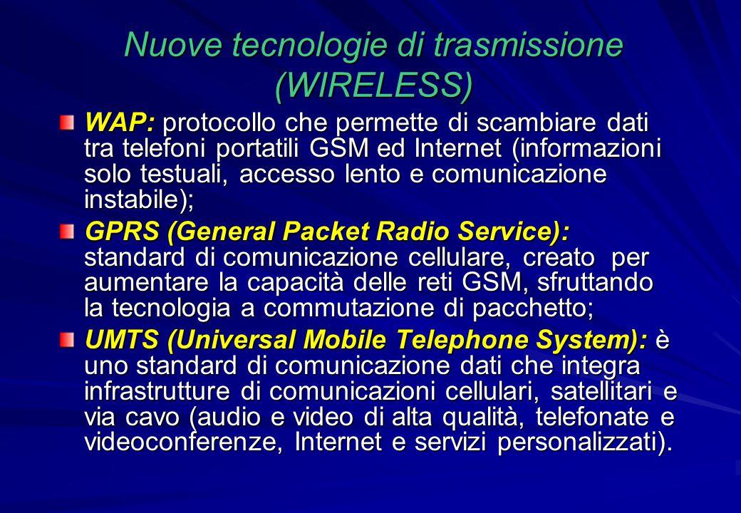 Nuove tecnologie di trasmissione (WIRELESS) WAP: protocollo che permette di scambiare dati tra telefoni portatili GSM ed Internet (informazioni solo t