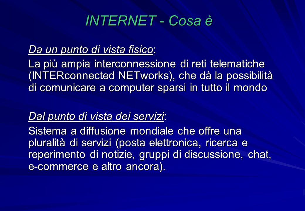 INTERNET - Cosa è Da un punto di vista fisico: La più ampia interconnessione di reti telematiche (INTERconnected NETworks), che dà la possibilità di c