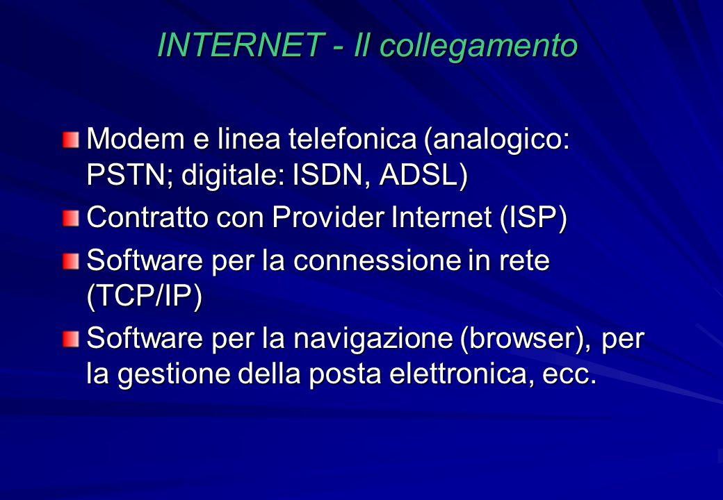 INTERNET - Il collegamento Modem e linea telefonica (analogico: PSTN; digitale: ISDN, ADSL) Contratto con Provider Internet (ISP) Software per la conn