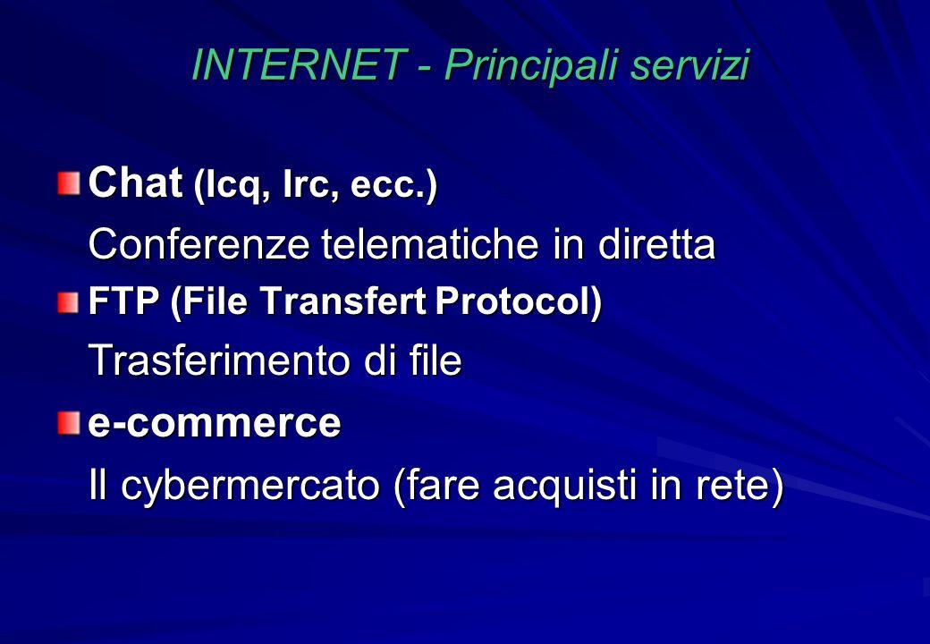 INTERNET - Principali servizi Chat (Icq, Irc, ecc.) Conferenze telematiche in diretta FTP (File Transfert Protocol) Trasferimento di file e-commerce I