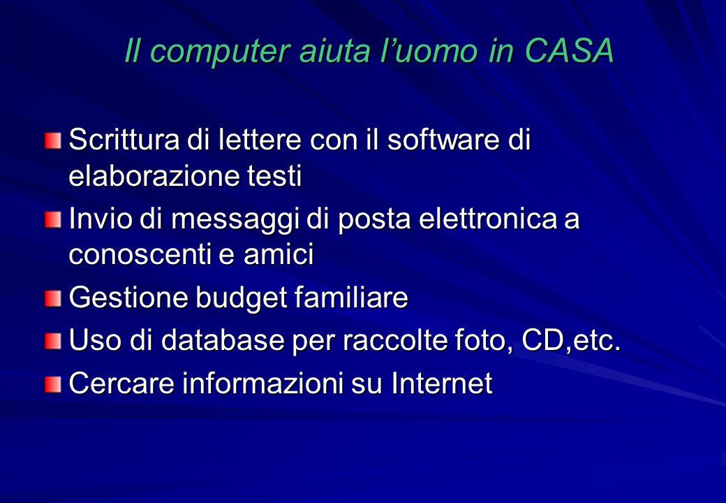 Il computer aiuta l'uomo in CASA Scrittura di lettere con il software di elaborazione testi Invio di messaggi di posta elettronica a conoscenti e amic