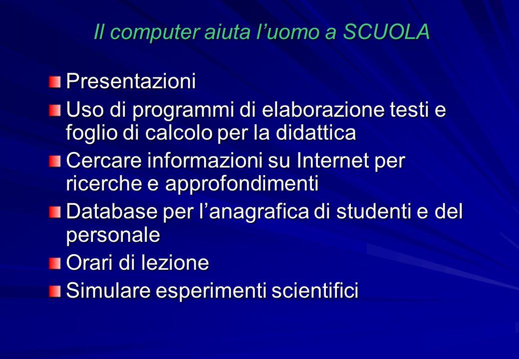 Il computer aiuta l'uomo a SCUOLA Presentazioni Uso di programmi di elaborazione testi e foglio di calcolo per la didattica Cercare informazioni su In