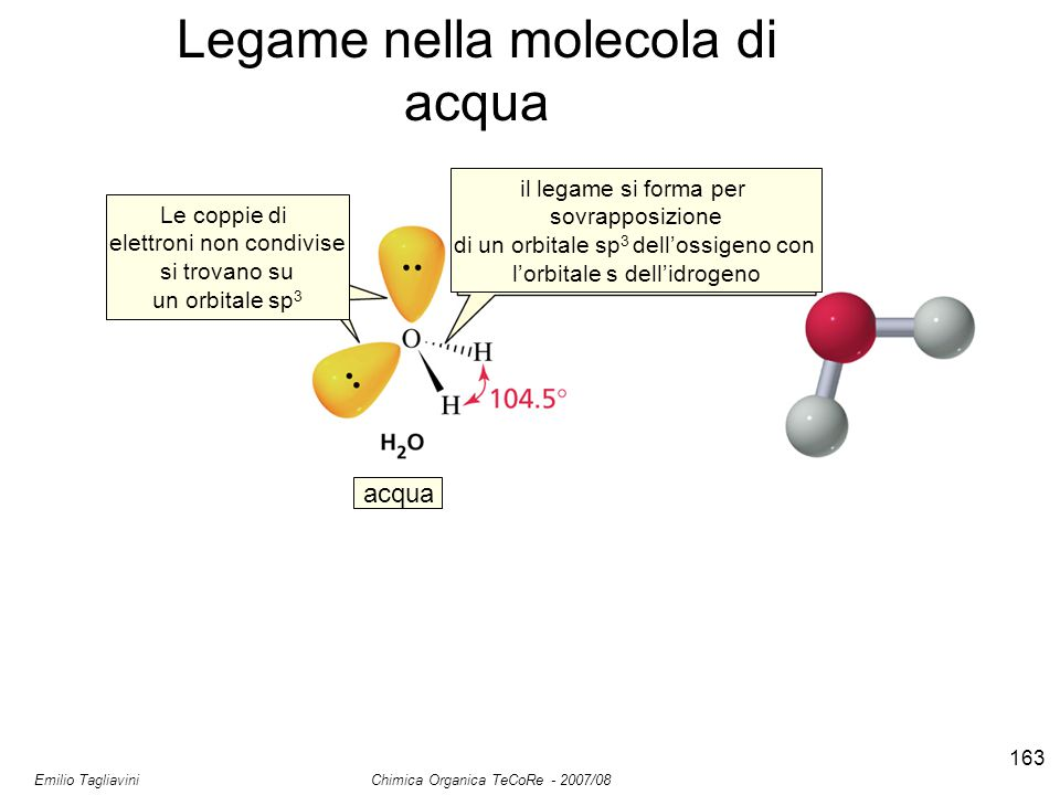Emilio Tagliavini Chimica Organica TeCoRe - 2007/08 163 Legame nella molecola di acqua Le coppie di elettroni non condivise si trovano su un orbitale sp 3 il legame si forma per sovrapposizione di un orbitale sp 3 dell'ossigeno con l'orbitale s dell'idrogeno acqua