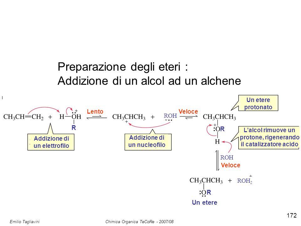 Emilio Tagliavini Chimica Organica TeCoRe - 2007/08 172 Preparazione degli eteri : Addizione di un alcol ad un alchene Addizione di un elettrofilo Add