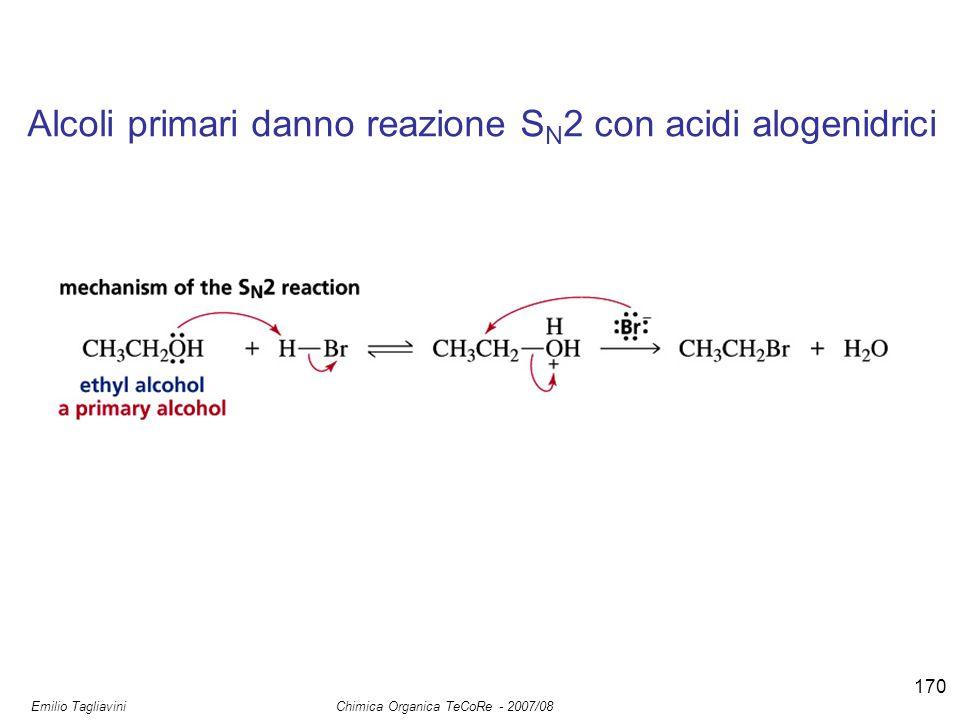 Emilio Tagliavini Chimica Organica TeCoRe - 2007/08 170 Alcoli primari danno reazione S N 2 con acidi alogenidrici
