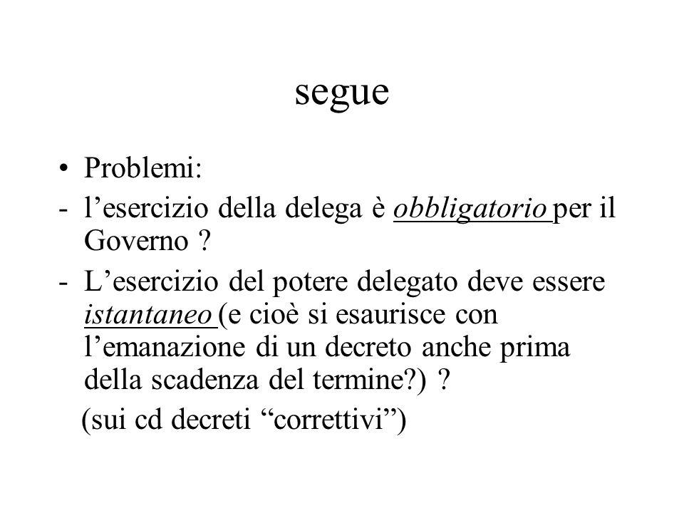 segue Problemi: -l'esercizio della delega è obbligatorio per il Governo ? -L'esercizio del potere delegato deve essere istantaneo (e cioè si esaurisce