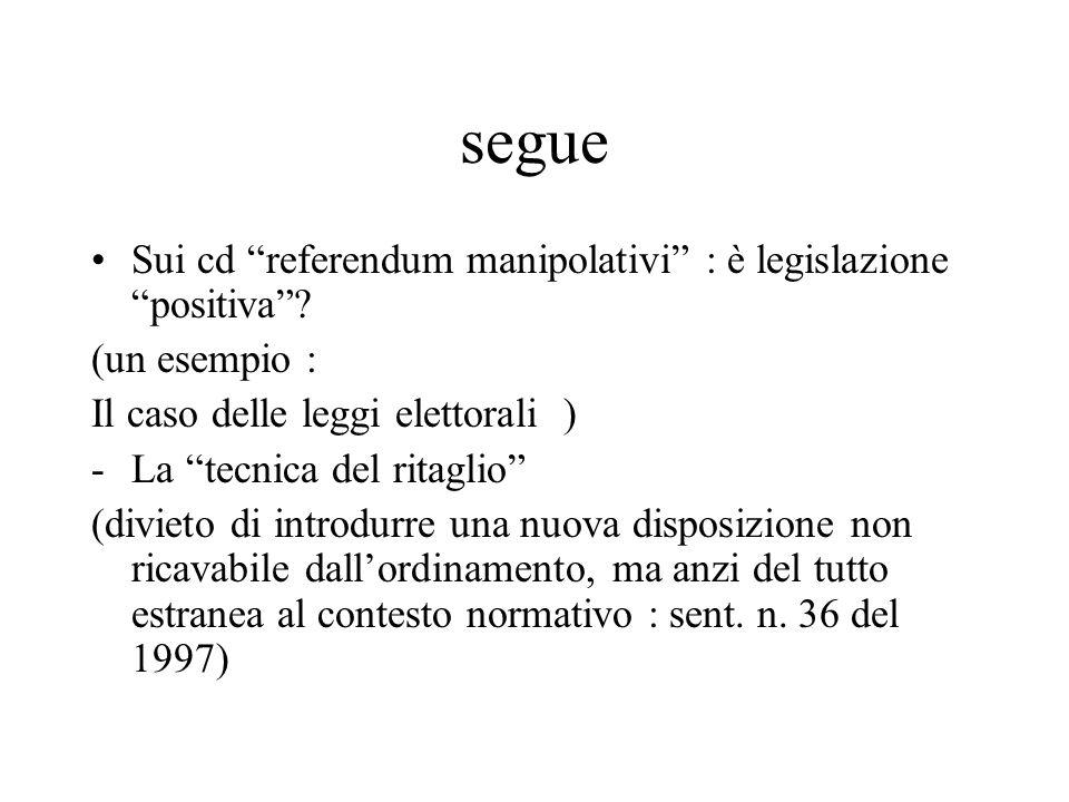 """segue Sui cd """"referendum manipolativi"""" : è legislazione """"positiva""""? (un esempio : Il caso delle leggi elettorali ) -La """"tecnica del ritaglio"""" (divieto"""