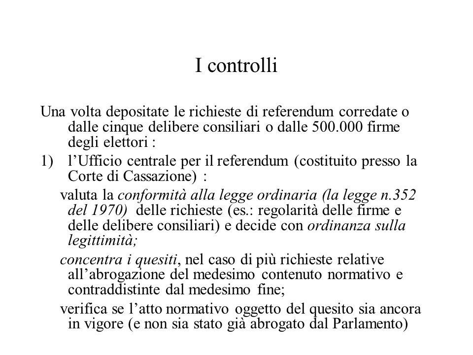 I controlli Una volta depositate le richieste di referendum corredate o dalle cinque delibere consiliari o dalle 500.000 firme degli elettori : 1)l'Uf