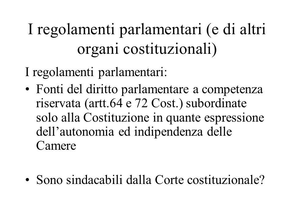 I regolamenti parlamentari (e di altri organi costituzionali) I regolamenti parlamentari: Fonti del diritto parlamentare a competenza riservata (artt.
