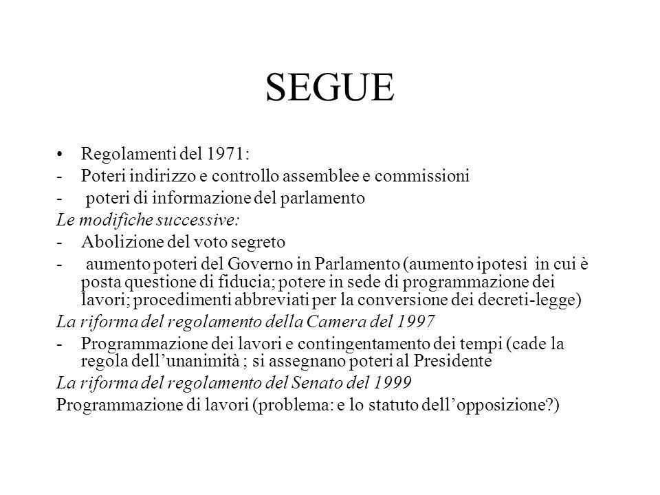 SEGUE Regolamenti del 1971: -Poteri indirizzo e controllo assemblee e commissioni - poteri di informazione del parlamento Le modifiche successive: -Ab