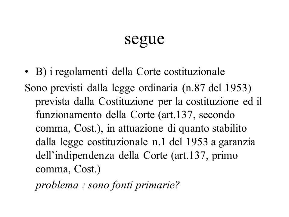 segue B) i regolamenti della Corte costituzionale Sono previsti dalla legge ordinaria (n.87 del 1953) prevista dalla Costituzione per la costituzione