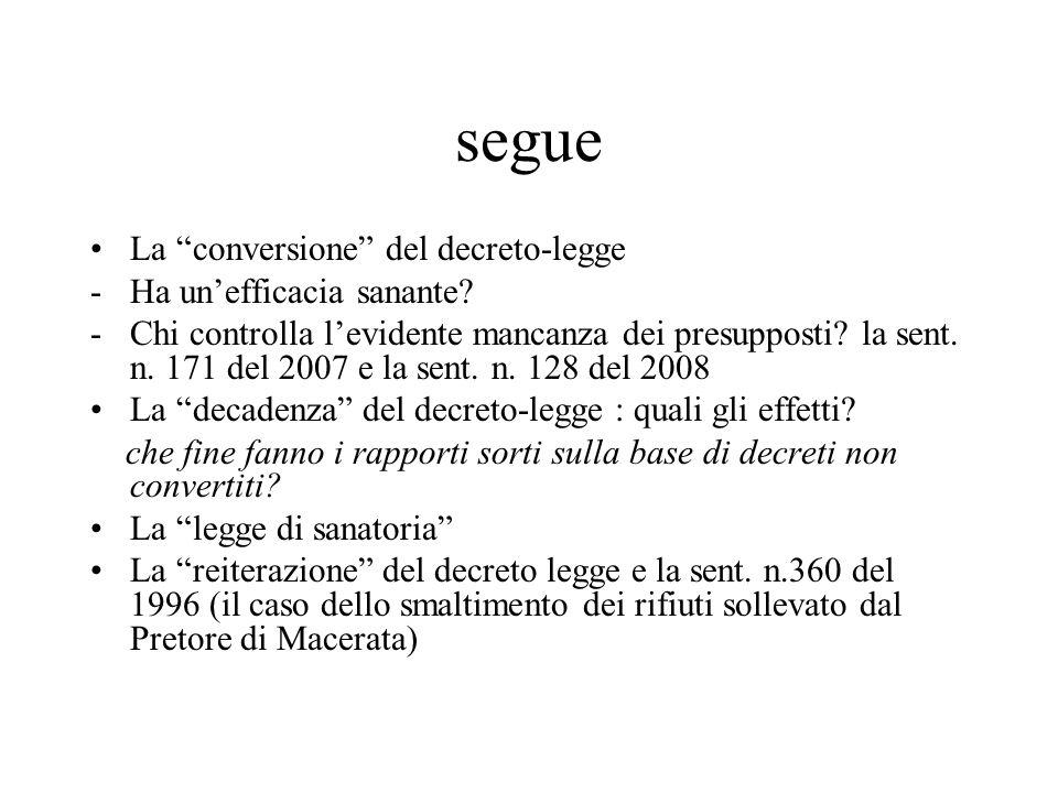 """segue La """"conversione"""" del decreto-legge -Ha un'efficacia sanante? -Chi controlla l'evidente mancanza dei presupposti? la sent. n. 171 del 2007 e la s"""