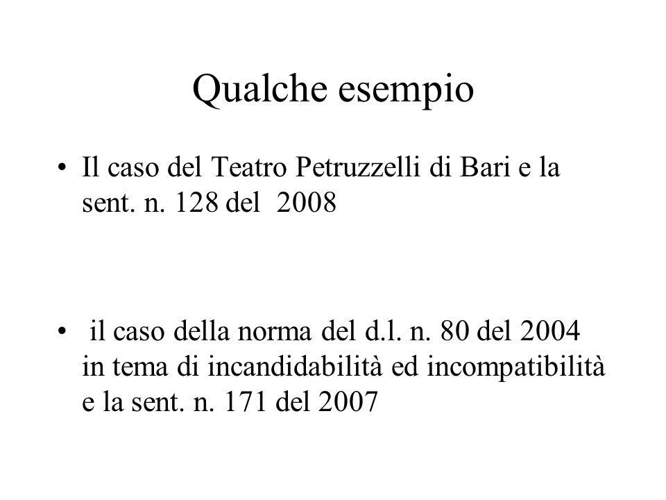 Qualche esempio Il caso del Teatro Petruzzelli di Bari e la sent. n. 128 del 2008 il caso della norma del d.l. n. 80 del 2004 in tema di incandidabili