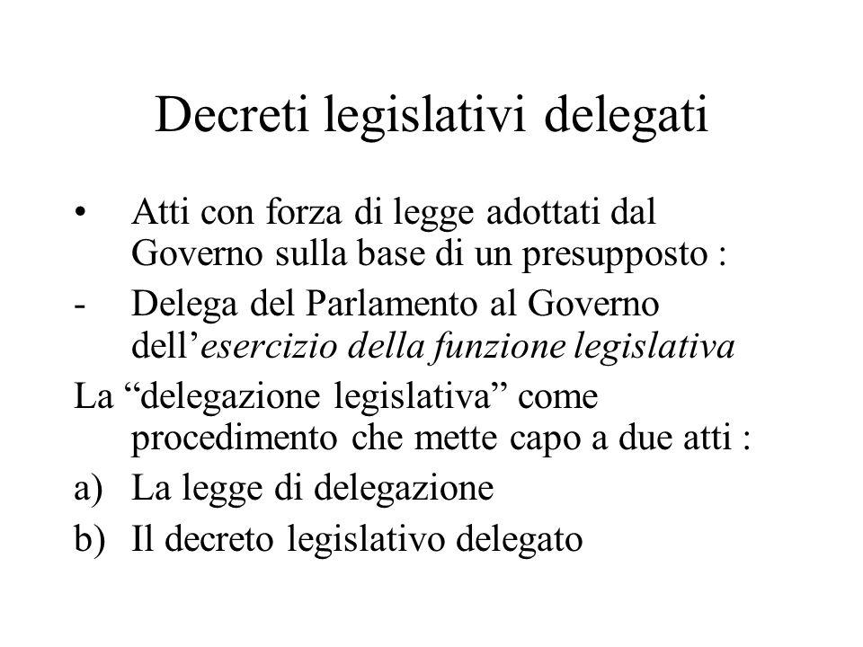 Decreti legislativi delegati Atti con forza di legge adottati dal Governo sulla base di un presupposto : -Delega del Parlamento al Governo dell'eserci