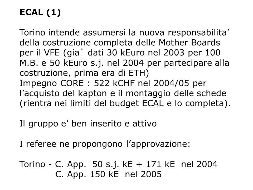 ECAL (1) Torino intende assumersi la nuova responsabilita' della costruzione completa delle Mother Boards per il VFE (gia` dati 30 kEuro nel 2003 per 100 M.B.