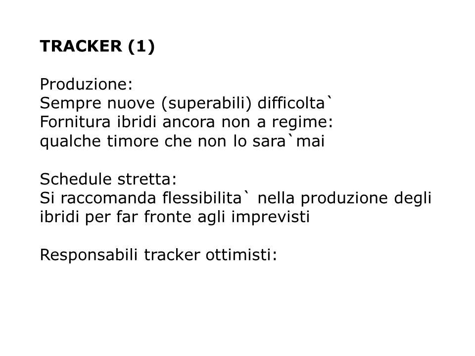 TRACKER (1) Produzione: Sempre nuove (superabili) difficolta` Fornitura ibridi ancora non a regime: qualche timore che non lo sara`mai Schedule stretta: Si raccomanda flessibilita` nella produzione degli ibridi per far fronte agli imprevisti Responsabili tracker ottimisti: