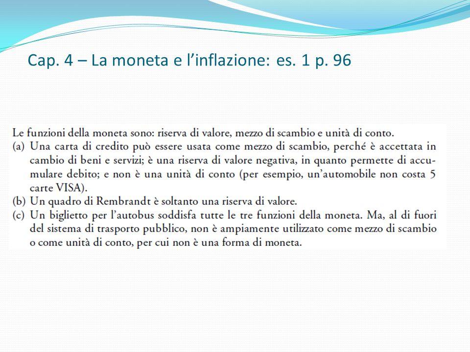 Cap. 4 – La moneta e l'inflazione: es. 1 p. 96