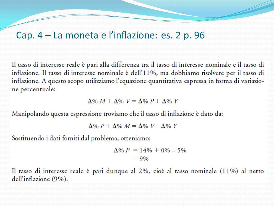 Cap. 4 – La moneta e l'inflazione: es. 2 p. 96