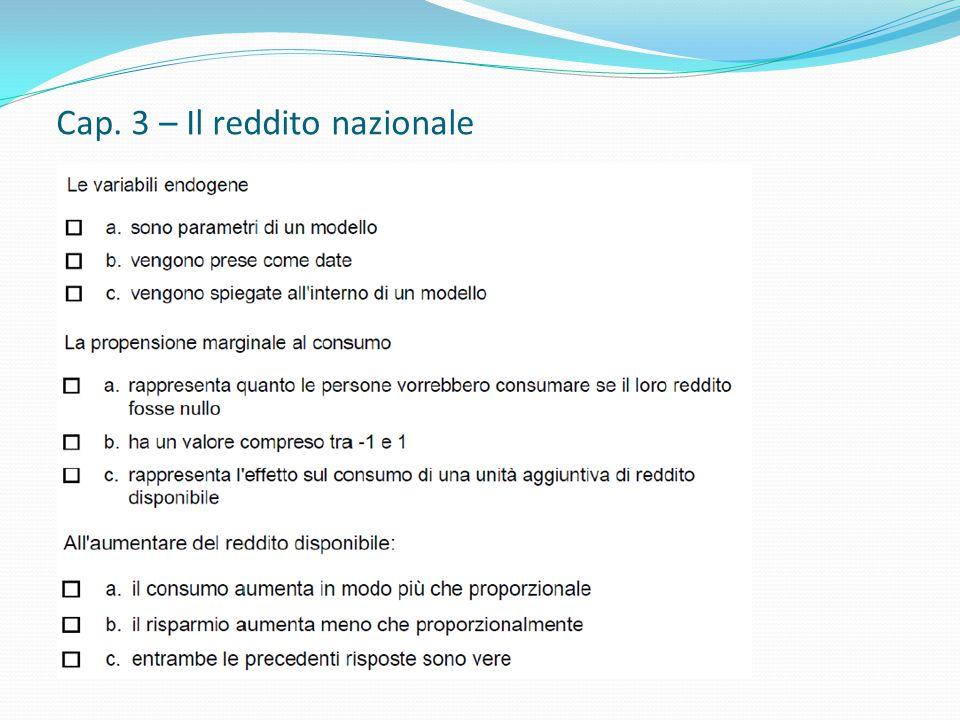Cap. 3 – Il reddito nazionale