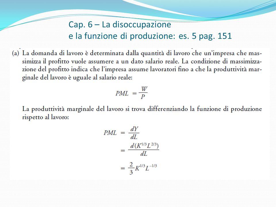 Cap. 6 – La disoccupazione e la funzione di produzione: es. 5 pag. 151