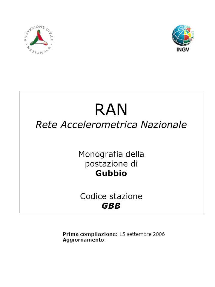 RAN Rete Accelerometrica Nazionale Monografia della postazione di Gubbio Codice stazione GBB Prima compilazione: 15 settembre 2006 Aggiornamento:
