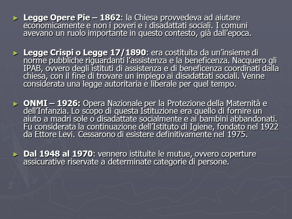 ► Legge Opere Pie – 1862: la Chiesa provvedeva ad aiutare economicamente e non i poveri e i disadattati sociali.