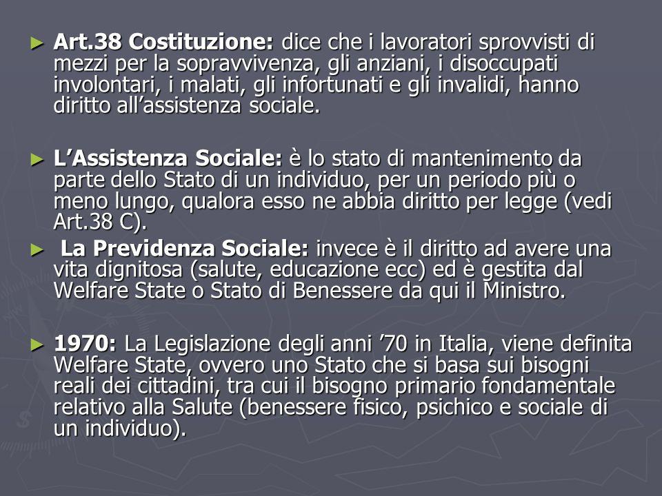 ► Art.38 Costituzione: dice che i lavoratori sprovvisti di mezzi per la sopravvivenza, gli anziani, i disoccupati involontari, i malati, gli infortunati e gli invalidi, hanno diritto all'assistenza sociale.