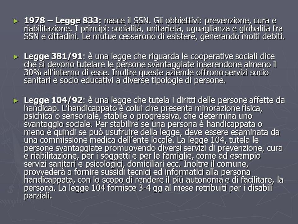 ► 1978 – Legge 833: nasce il SSN.Gli obbiettivi: prevenzione, cura e riabilitazione.