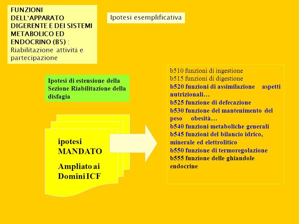 FUNZIONI DELL ' APPARATO DIGERENTE E DEI SISTEMI METABOLICO ED ENDOCRINO (B5) : Riabilitazione attivit à e partecipazione Ipotesi di estensione della