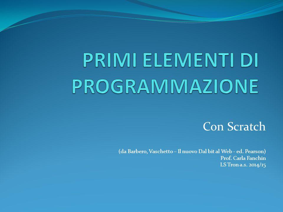 Con Scratch (da Barbero, Vaschetto – Il nuovo Dal bit al Web - ed. Pearson) Prof. Carla Fanchin LS Tron a.s. 2014/15